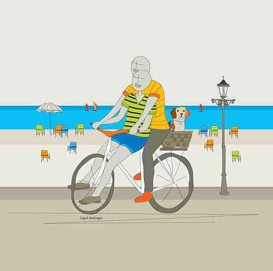 ציור זוג אוהבים על אופניים