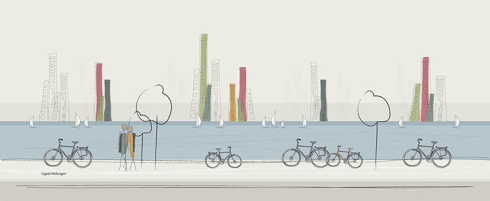 ציור מגדלים ליד הים