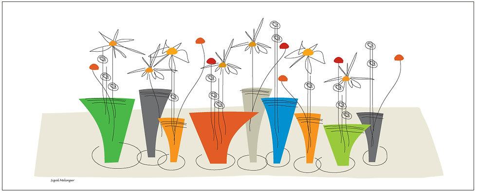 ציור עציצי פרחים