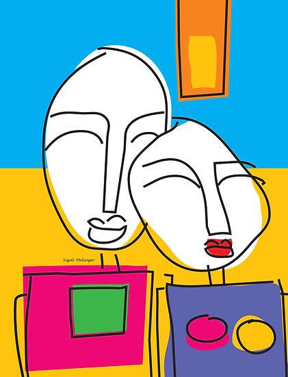 ציור זוג צבעוני אבסטרקט