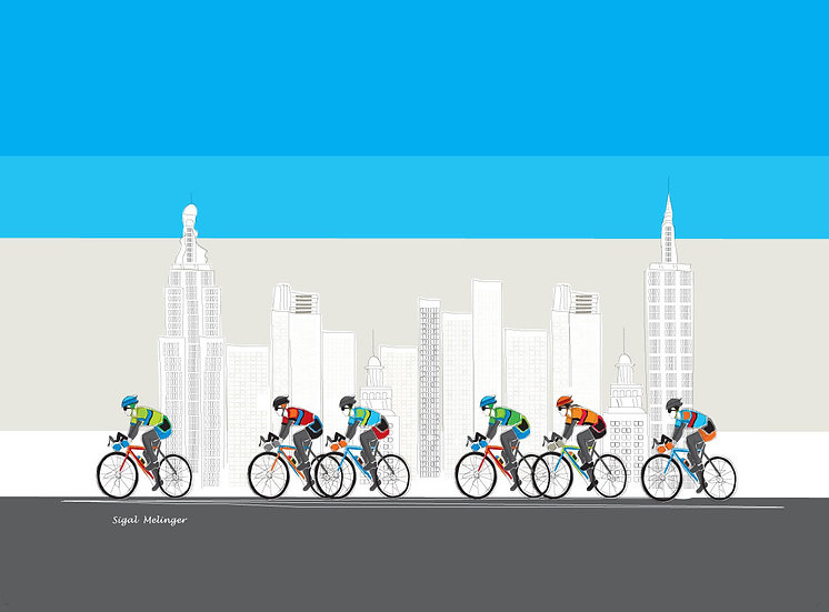 ציור מירוץ אופניים ניו יורק