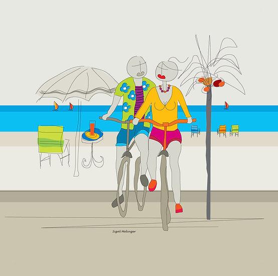 ציור אוהבים רוכבים על אופניים ליד הים