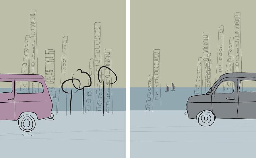 ציור מכוניות בעיר