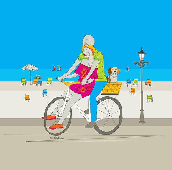 ציור אהבים רוכבים על אופניים עם כלב ליד הים
