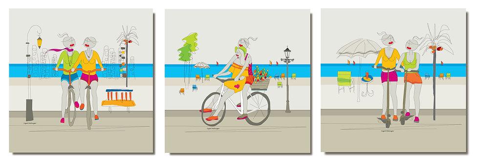 ציור של זוג אוהבות על אופניות