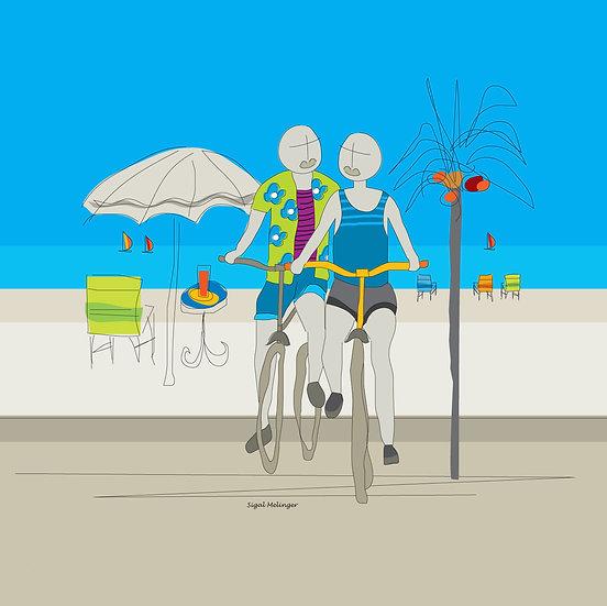 ציור זוג אוהבים רוכבים על אופניים