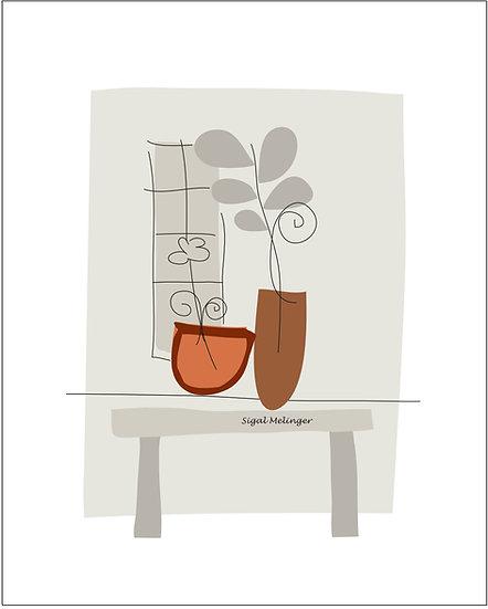 ציור שולחן ועציצים