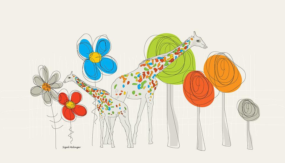 ציור ילדים של ג'ירפות