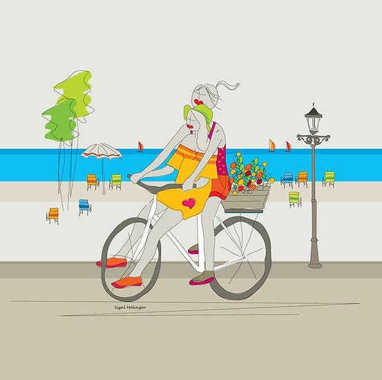 ציור אהובות רוכבות על אופניים
