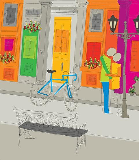 ציור אוהבים תחת פנס רחוב