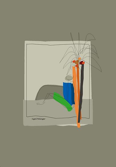 ציור של איש נשען על עץ אבסטרקט
