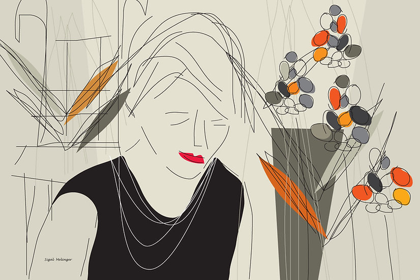 ציור אישה בצבעי אדמה