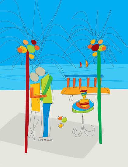 ציור זוג בים אבסטרקט