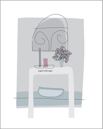 ציור שולחן עציץ ונרות