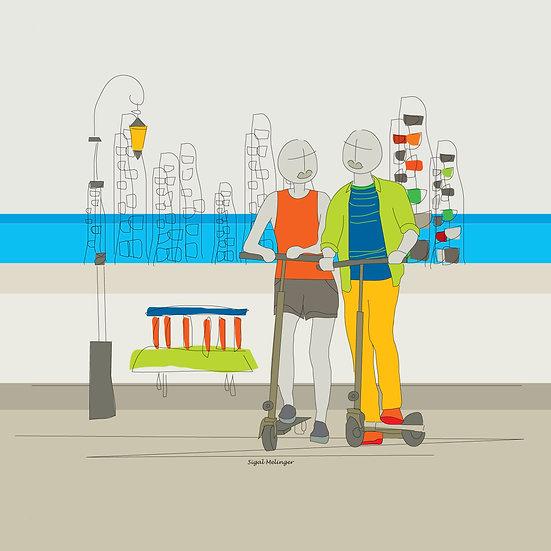 ציור זוג אוהבים על קורקינט בעיר