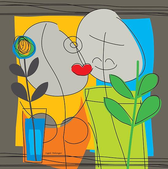 ״נשיקה ופרח 2 (אפור)״