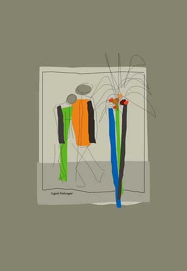 ציור של זוג בטבע אבסטרקט