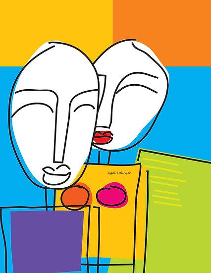 ציור צבעוני זוג אבסטרקט