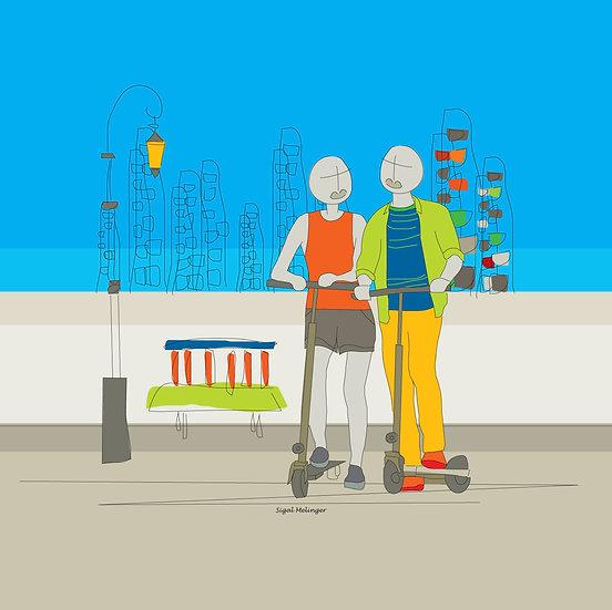 ציור אוהבים רוכבים על קורקינט בעיר