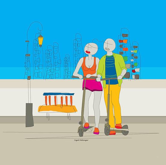 ציור אוהבים רכובים על קורקינט ליד הים