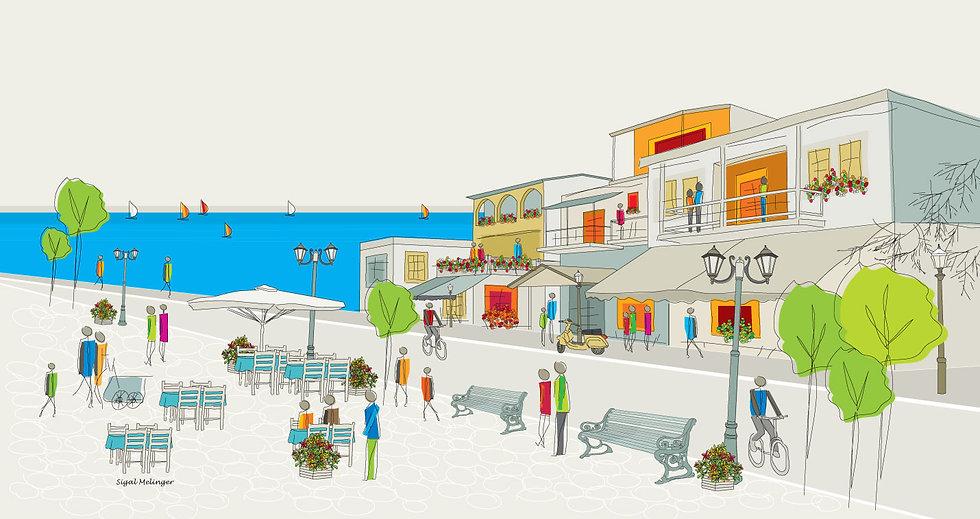 ציור רחוב ליד הים