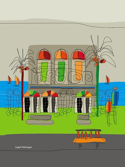 ציור בית ליד הים