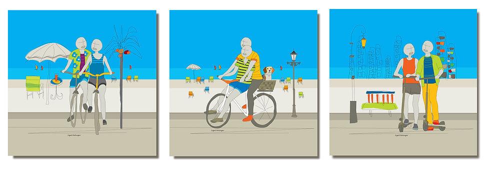 ציור של זוג אוהבים על אופניים