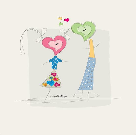 ציור ילדי לבבות