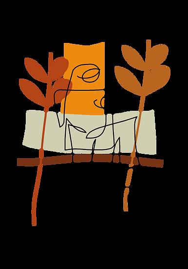 ציור שתי דמויות אבסטרקט