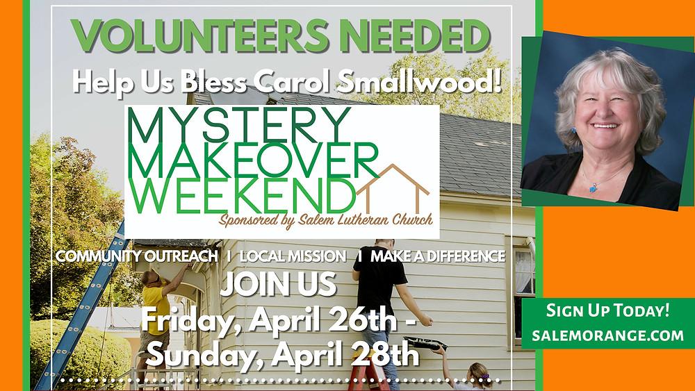 Volunteers Needed - Help us bless Carol Smallwood!