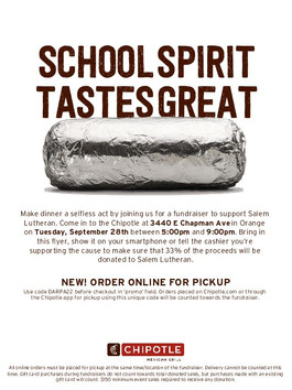 Dine out and support our school