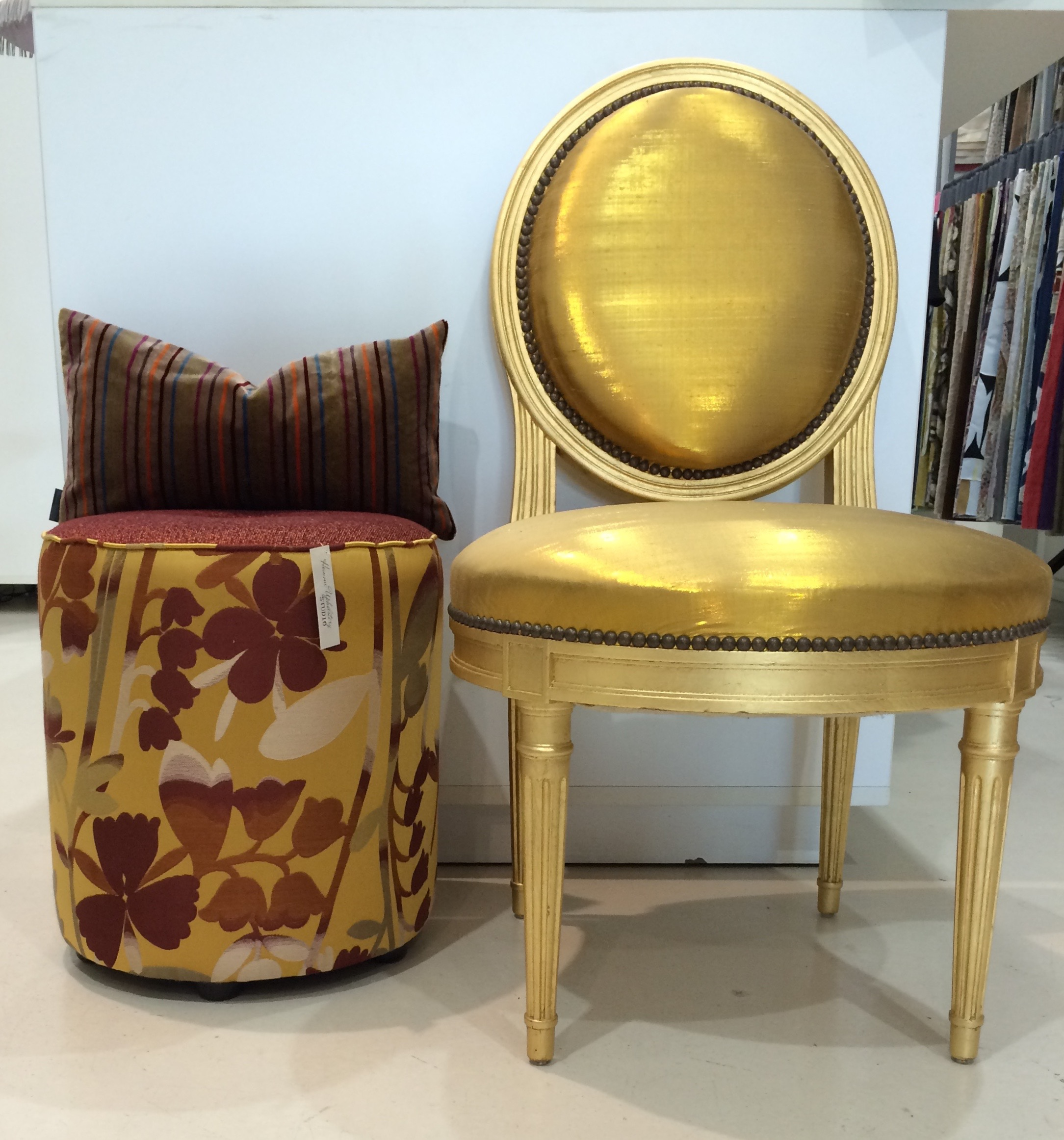Rubelli Custom cushion and Ottoman.