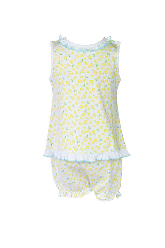 The Proper Peony Lemons - Girl Ruffle Sleeveless Bloomer Set