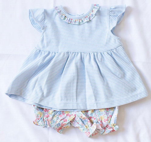 Peggy Green ruffle knit bloomer set - churchill floral bloomer w blue candy stri