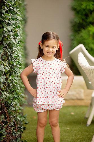 The Proper Peony Strawberries - Girl bloomer set