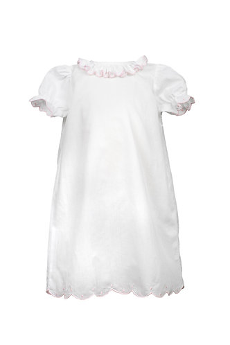 The Proper Peony Layette Gown Scallop Dots Pink