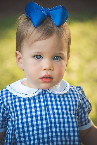 The Proper Peony Royal Blue Gingham Pleat Dress