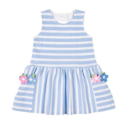 Florence Eiseman -Blue Pique Flower Pocket Dress