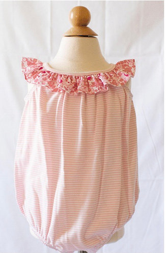 Peggy Green knit bubble - pink candy stripe w libba floral