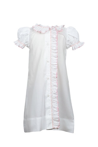 The Proper Peony Layette Gown Smocked Pink