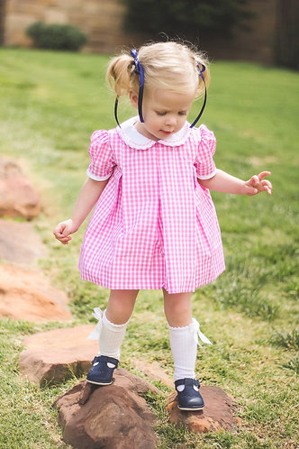 The Proper Peony Pink Gingham Pleat Dress