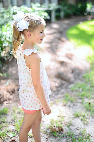 James and Lottie Strawberry Knit Top with Coral Knit Shorts