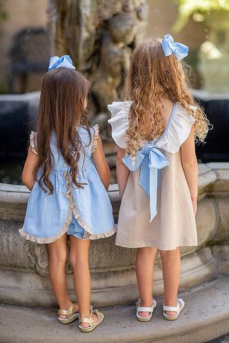 The Oaks - Reagan Blue & Tan Dress Set