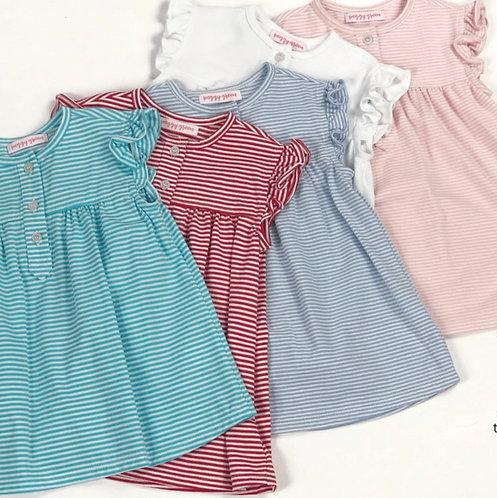 Peggy Green sleeveless pima ruffle - pink candy stripe