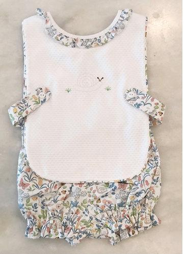 Peggy Green girls apron set - greenville garden bloomer w white pique apron top