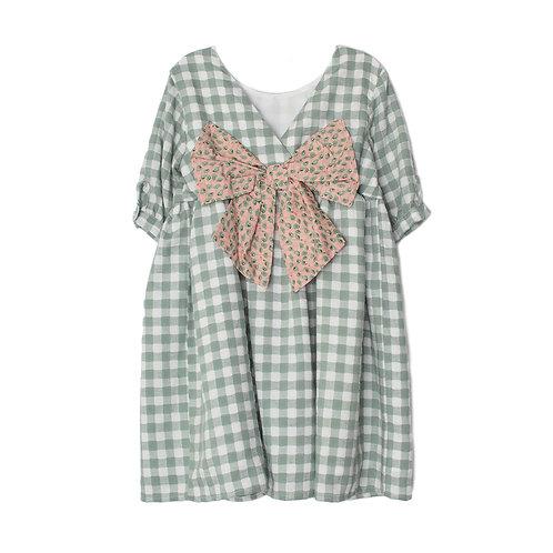 Mabel & Honey - Ready Set Bow Dress in Sage