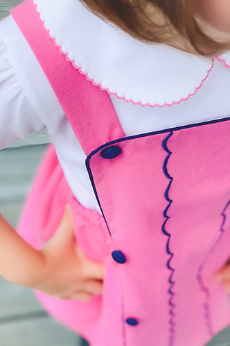 The Proper Peony Pink Trim, Elbow Sleeve Girl Shirt