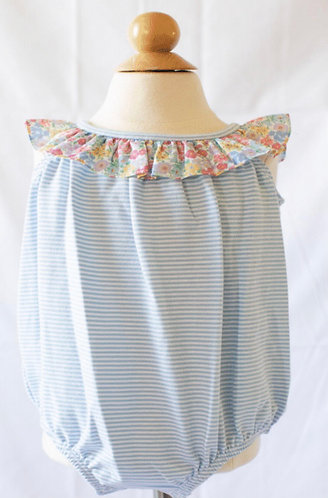 Peggy Green knit bubble - blue candy stripe w churchill floral