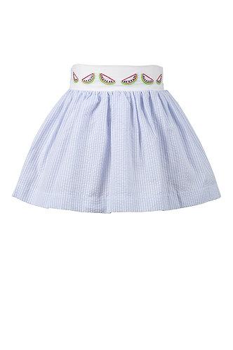 The Proper Peony Watermelon Seersucker Skirt