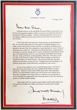 Stratosphere letter from Prince Charles